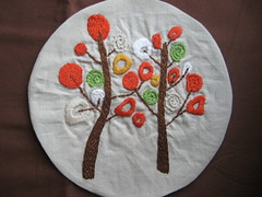 embroidered tree (weepereas) Tags: orange brown tree green beige embroidery ecru woolyembroidery wollyembroidery
