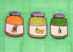 Baby Food Jars (Homemade Pop) Tags: art artwork artist folkart outsiderart folk originalart contemporary drawings pop popart homemade marker prints prismacolor foodart doodling 5x7 magicmarker foodpackaging pilotpen cheapart retroart brightart originalillustration quirkyart