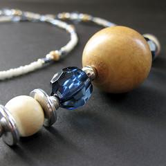 Handmade Eyeglass Chain - Island Princess (Gilliauna) Tags: silver wooden women accessories eyewear deepblue lanyard eyeglass kukuinut hawaiianstyle eyeglassholder ivorywhite eyeglasschain sunsandandbeach