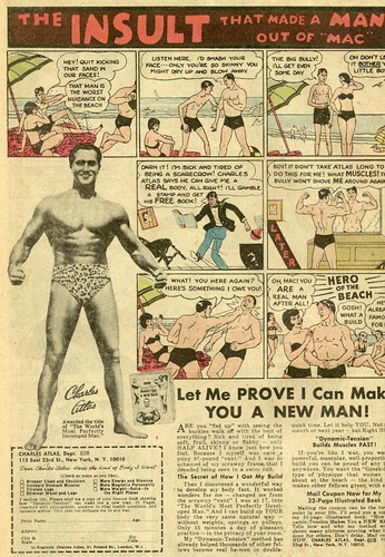 "Famous ""98 pound weakling"" Charles Atlas ad from 1972 