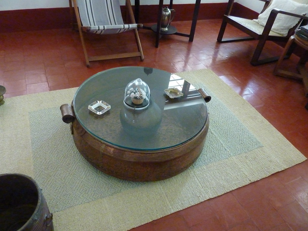 Giant wok now used for coffee table...beautiful