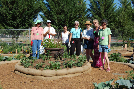 The success of this community garden is the result of many enthusiastic volunteers. Approximately 25 beds were constructed as well as a flower beds to attract pollinators.