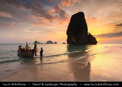 Thailand - Long Tail Boat Leaving from Krabi - Railay Beach (© Lucie Debelkova / www.luciedebelkova.com) Tags: world trip travel light sea vacation holiday tourism beach water beautiful clouds landscape thailand boats outdoors photography boat photo rocks aqua asia southeastasia sailing tour view place shot image scenic kingdom visit location tourist hills journey shore thai vista destination traveling visiting exploration siam landschaft fareast touring krabi voda waterscape southeasternasia luciedebelkova subregionofasia wwwluciedebelkovacom