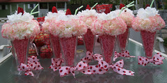 ice cream soda floral centerpieces (mconlonllc) Tags: pink decorations party floral tulips ladybug florals arrangement babyshower carnations silkflowers centerpieces icecreamsodacenterpieces ladybugribbon