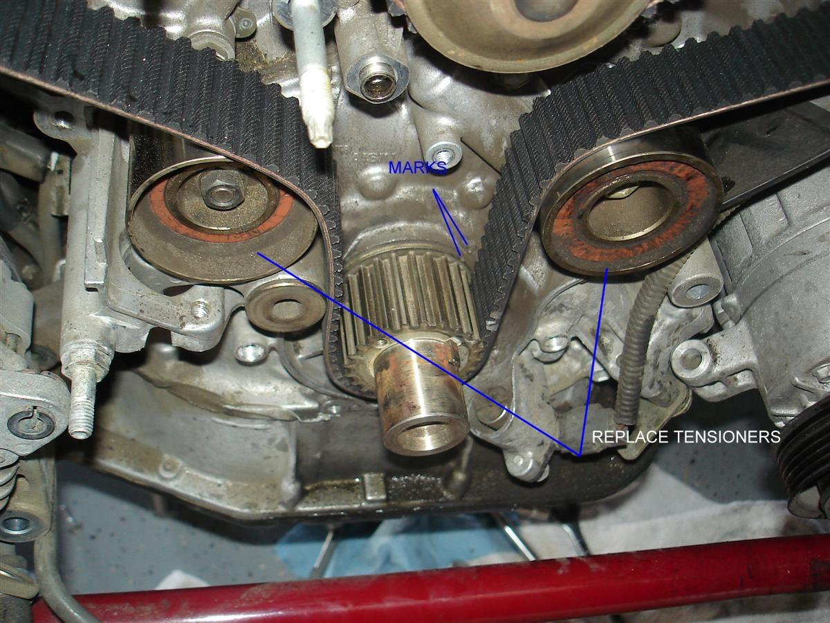 Sc430 Timing Belt Installation Notes Clublexus Lexus Forum 1uz Wiring Diagram A Vice Is Required To Compress The Tensioner Rod Back Into Place Turn Slowly Notice Holes On And