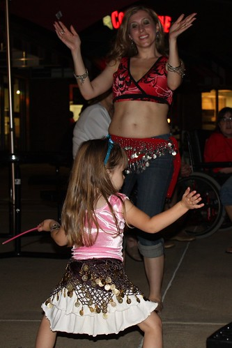 Elizabeth boogies down with the belly dancer