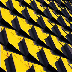 a flock of shapes (barbera*) Tags: blue windows building london glass yellow architecture facade reflections pattern shapes barbera arup ropemakerplace jibbr 753413