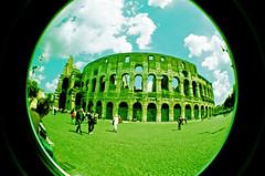 Colosseum X-Pro (TC.) Tags: vacation italy rome roma film iso100 lomo xpro lomography crossprocessed italia toycamera slidefilm colosseum coliseum fisheye2