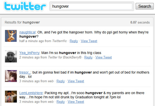 Hungover Search On Twitter