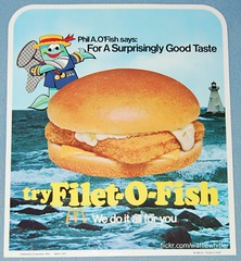 Phil A. O'Fish - 1976 McDonald's (Waffle Whiffer) Tags: fish net hat sign restaurant fastfood sandwich mcdonalds mascot 1970s 1976 filetofish philaofish