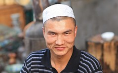 Kashgar - Kashi  China  (Douglas Martell) Tags: life china travel west guy canon wonder eos asia muslim culture adventure explore xinjiang kashgar uyghur kashi youngman martell  mk111 mansportrait autonomousregion ksh douglasmartell tokyoaus