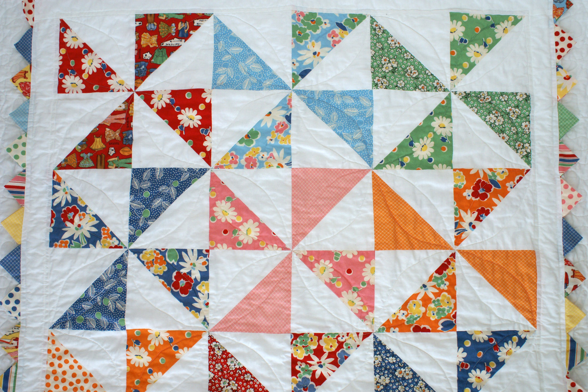 quilting on Snippets Quilt
