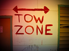 Tow zone (gritphilm) Tags: grit condemned decay montereybay trashed fortord armybase holgacolorflash markheaps gritphilm canonpowershotg10 decayporn