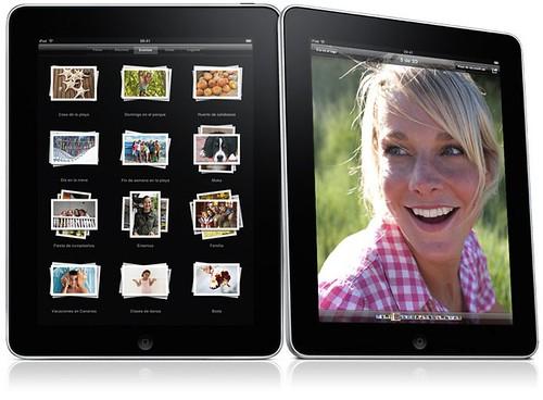 Fotografía de un iPad mostrando una galería de fotos