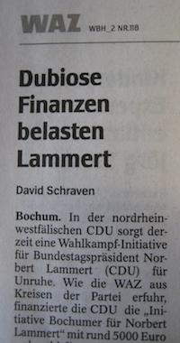 WAZ-Artikel über Norbert Lammert von David Schraven