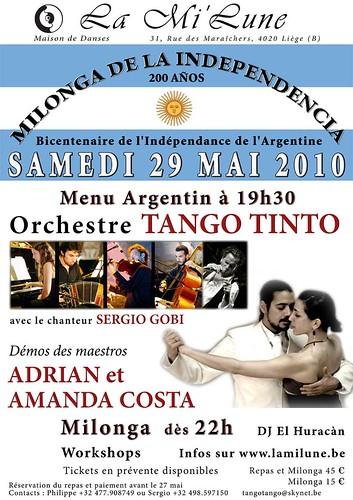 Samedi 29 mai 2010- Fête du bicentenaire de l'Indépendance de L'Argentine - Grand événement Tango - La Mi'Lu ne, Liège