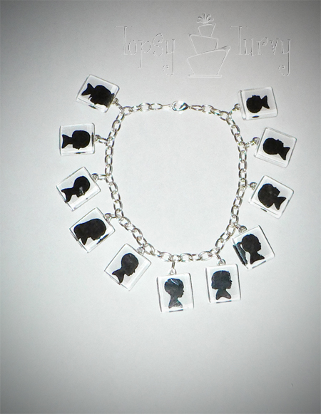 11 grandchildren silhouette jewelry bracelet