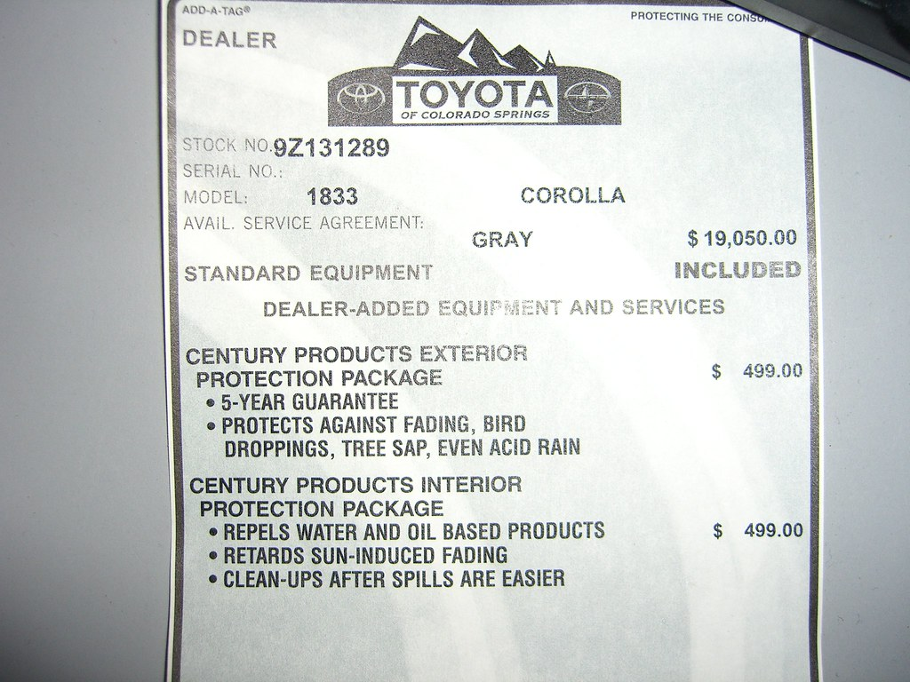 Dealer Added Equipment And Services Toyota Nation Forum