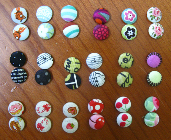 fabric button earrings lot