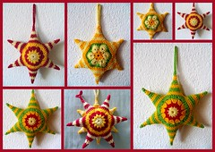 Hexagons are my Stars (Daniela.H.) Tags: red orange flower green yellow stars african crochet decoration sunburst hexagons croche hkeln ganchillo gehkelt  attic24