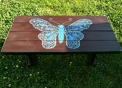 butterfly coffee table (Rick Cheadle Art and Designs) Tags: blue orange brown abstract black flower color colour green bird art floral illustration table design cool experimental acrylic hand graphic dragonfly furniture folk assemblage circles arts funky exotic fantasy handpainted oil om decor groovy distressed eclectic embossed hamsa abstrct acrylicsart paintedtables illustrationinterior rickcheadle tablesaccentaccent flowerpurpleflowers folkartfoundfoundobjectsfunky anniesloanchalkpaint shabbyfrench