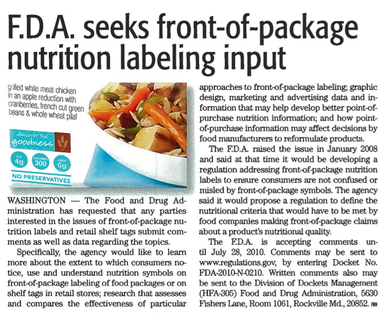 FDA seeks front of package nutrition labeling info