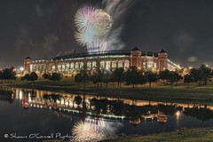 Fireworks at the Ballpark (Shawn O'Connell Photography) Tags: color reflection field night arlington us nikon texas baseball fireworks stadium brightlights rangers hdr texasrangers ballpark ameriquest mlb majorleaguebaseball d90 shawnoconnellphotography