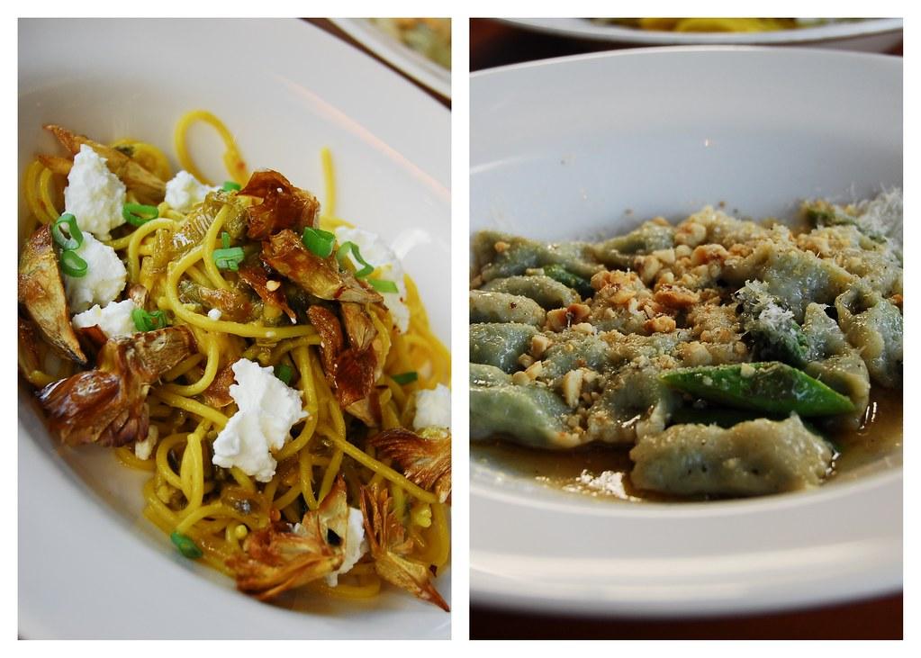 Restaurant Alma (middle course): Ricotta & Rabbit Agnolotti, Saffron Spaghettini