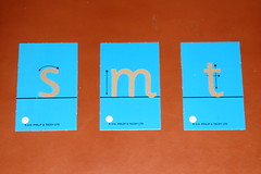Inexpensive version of Montessori sandpaper letters that can be used to teach phonetic sounds in any preschool environment.