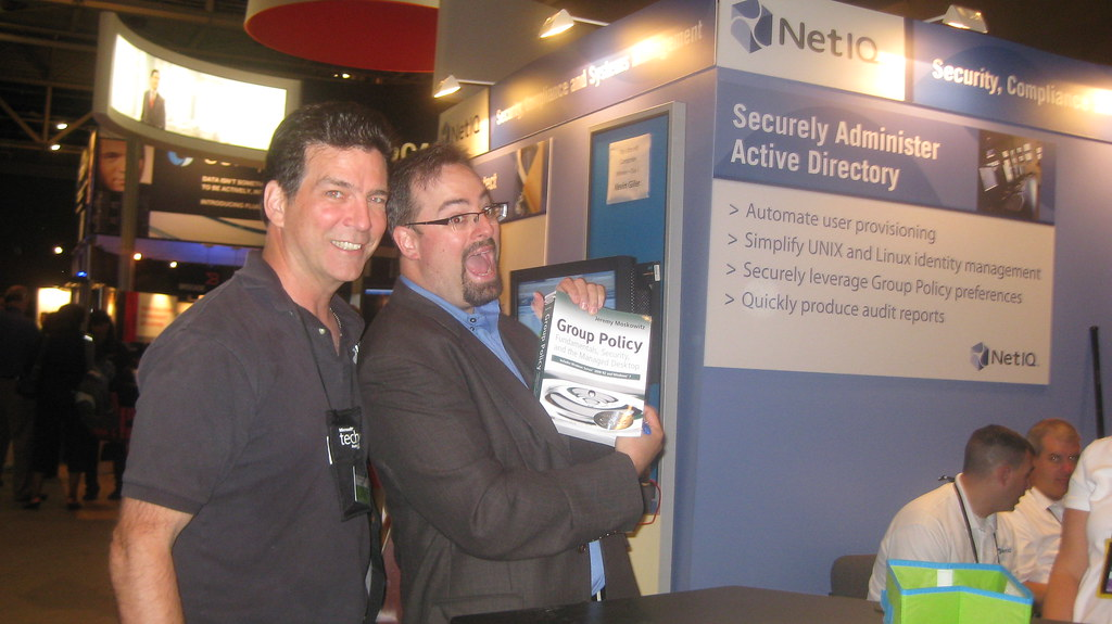 Jeremy Moskowitz with recipient of his Group Policy book