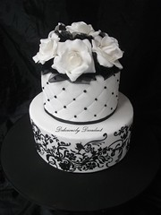 Angelina (Deliciously Decadent (Taya)) Tags: wedding roses white black cake print stencil pearls quilting tulle filigree damask deliciouslydecadent