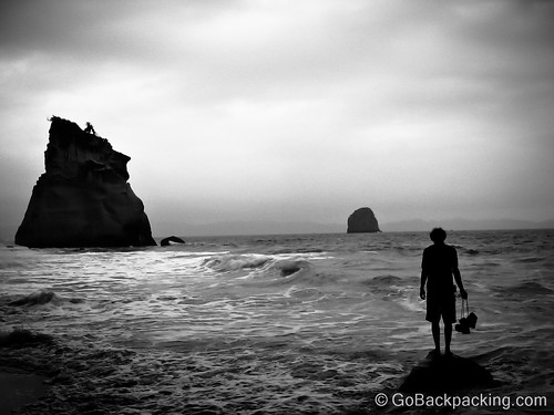 After: Contemplation in Cathedral Cove, New Zealand