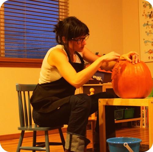 me carving first pumpkin