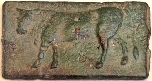 05/1 cast Quincussis or 5 pound bar, with Bull on display in the British Museum