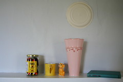 Five Random Objects (Avard Woolaver) Tags: life pink light stilllife canada colour home cup yellow brooklyn photography photo flickr novascotia image random objects honey newport jar vase novel canondslr senioryear nov4 digitalimage 2010 hantscounty williameggleston contemporarylandscape sociallandscape anneemery conceptualphotograph cuisenairerods contemporaryandconceptualphotography avardwoolaver avardwoolaverphoto shoteatshot