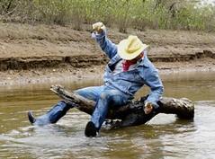 14 WS Riding high on log & I'm halfway wet so far (Wrangswet) Tags: wranglers swimmingfullyclothed wetjeans wetmen wetboots wetladz wetcowboy swimminginjeans wetcowboyboots wetcowboyhat wetwranglerjeans meninwetjeans guysswimminginjeans