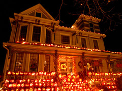 The Pumpkin House (rcvernors) Tags: decorations light orange halloween night dark lights glow jackolantern pumpkins oldhouse wv westvirginia glowing frontporch rickgriffith decorated victorianhouse slowshutterspeed carvedpumpkins rcvernors kenovawv rickchilders thepumpkinhouse