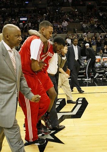 November 6th, 2010 - Rockets point guard Aaron Brooks is carried off the court after severely spraining his ankle before halftime