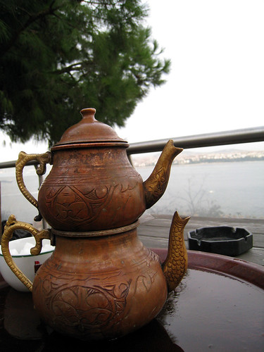 Drinking tea by the Bosphorus