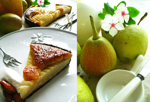 French pear and frangipane tart with Earl Grey cream and caramelized almonds