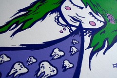 Tooth Decay (cakeeater ♥) Tags: pink cute green art girl tooth hair print stars screenprint purple candy teeth violet lavender screen silkscreen