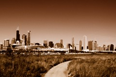 Prairie Path (Josh Koonce) Tags: city brown chicago film sepia haze warm horizon grain picasa grainy hazy northerlyisland