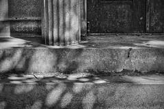 Mausoleum Shadows, 2017.06.22 (Aaron Glenn Campbell) Tags: hollenback cemetery wilkesbarre wyomingcounty luzernecounty pennsylvania textures 3xp ±2ev hdr dappled shadows blackandwhite bw macphun aurorahdr2017 luminar sony a6000 ilce6000 mirrorless canon 50mmf18ii primelens fotodiox lensadapter emount cpfilter circularpolarizer