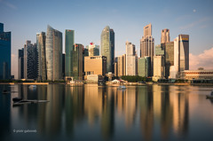 Morning Mirror (pietkagab (on the road)) Tags: singapore skyline marinabay morning light water reflection reflections asia asian southeast pietkagab photography pentax piotrgaborek pentaxk5ii travel trip tourism sightseeing longexposure city cityscape modern skyscrapers