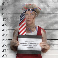 4th of July Gone Bad (YetAnotherLisa) Tags: 4thofjuly independenceday america mugshot arrest tie patriotic stars stripes flag holiday debauchery badjudgement self selfportrait selfie explosion fire smoke trouble