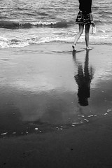 Dipping your toes (ChrisJWallace) Tags: adventure bw beach coast curracloe fujifilm ireland monochrome nature outdoors reflection sea summer travel wexford xt1