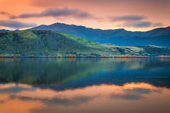 Lake Hayes || QUEENSTOWN || SOUTH ISLAND NZ (rhyspope) Tags: nz new zealand lake hayes water sunrise sunset sky clouds color colour rhys pope rhyspope canon 5d mkii reflection green mountain hill arrowtown travel scenery stunning