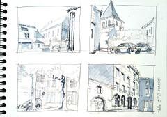 Melle,  place du Palais (Croctoo) Tags: croctoo croctoofr croquis melle poitoucharentes poitou aquarelle watercolor