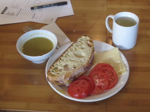 Soup, sandwich, tomatoes, cheese, lemonade - $6