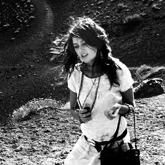 Swallowed up by an active volcano (prcralexandra) Tags: summer bw girl hair volcano wind sicily howeveritsstillmylife